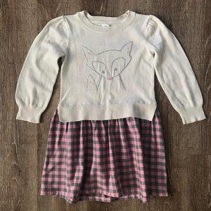 {Gap} Pink Gray Plaid Fox Sweater Dress | 4T